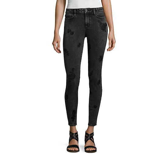 Ana Acid Wash Embroidered Jeggings Tall