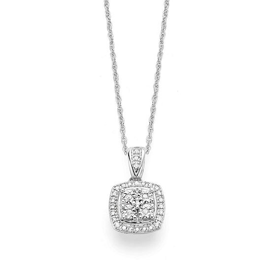 Limited Time Special! 1/10 CT. T.W. Genuine Diamond Pendant Necklace in Sterling Silver