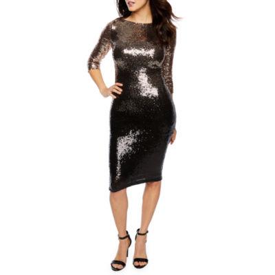 Premier Amour 3/4 Sleeve Sequin Ombre Sheath Dress