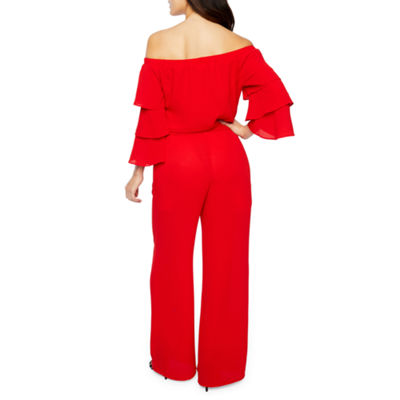 Premier Amour Long Sleeve Off The Shoulder Jumpsuit