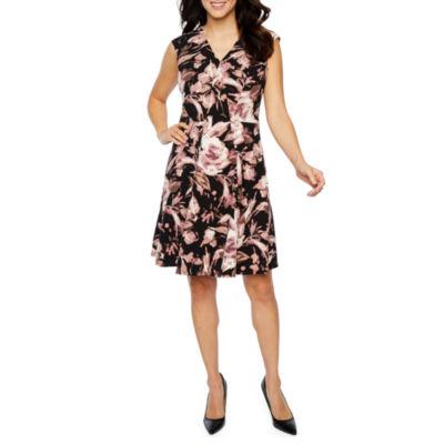London Times Sleeveless Pattern Fit & Flare Dress