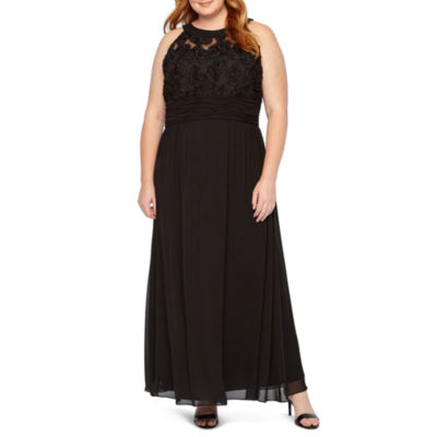 Scarlett Applique Lace Top Halter Gown - Plus