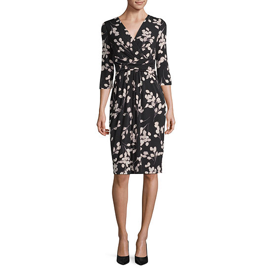 London Times 3/4 Sleeve Floral Sheath Dress