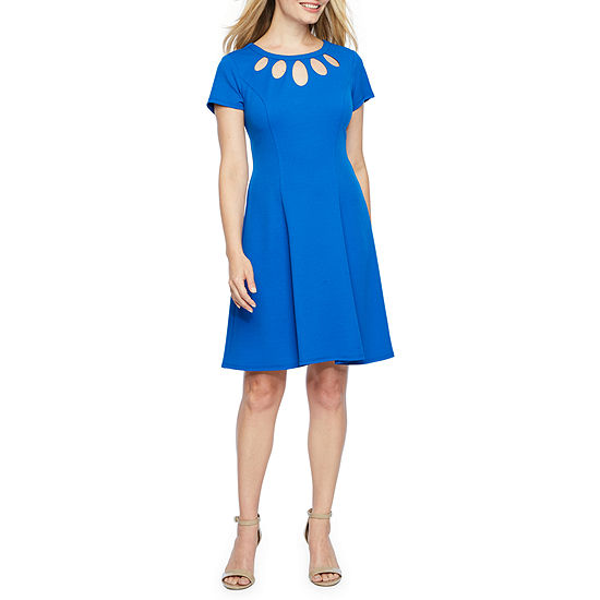 Alyx Short Sleeve Fit & Flare Dress-Petite