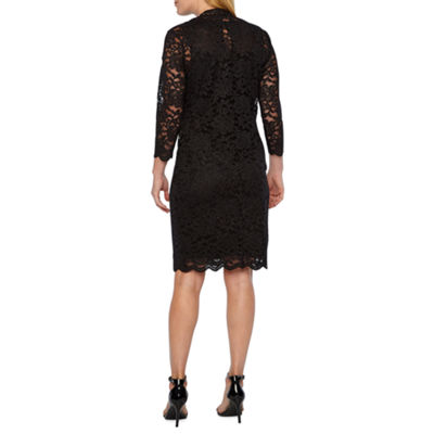 Onyx Nites 3/4 Sleeve Lace Jacket Dress
