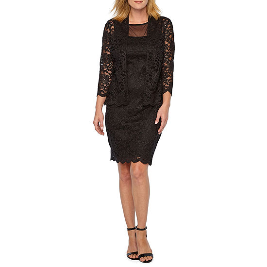 Onyx Nites 3 4 Sleeve Lace Jacket Dress