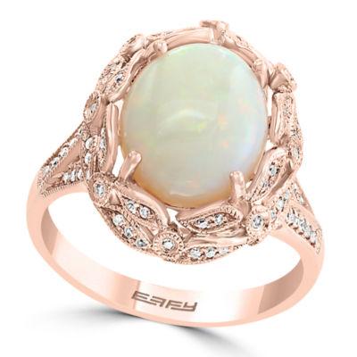 Effy Final Call ¼ CT. T.W. Diamond & Genuine Opal Ring In 14K Rose Gold