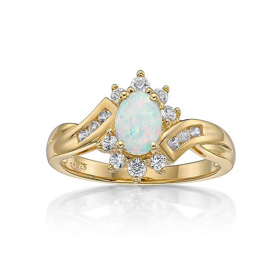 Lab Created Opal Lab Created White Sapphire 14k Gold Over Silver Cocktail Ring