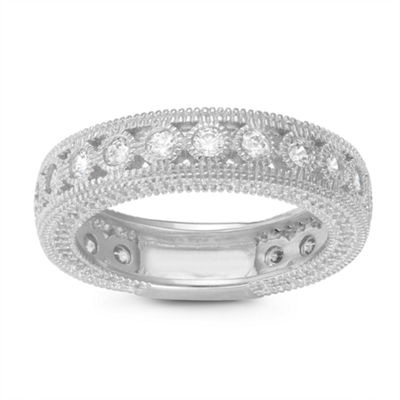 Womens 5.5mm 5/8 CT. T.W. White Cubic Zirconia Sterling Silver Band