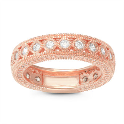 Womens 5.5mm 5/8 CT. T.W. White Cubic Zirconia 14K Rose Gold Over Silver Band