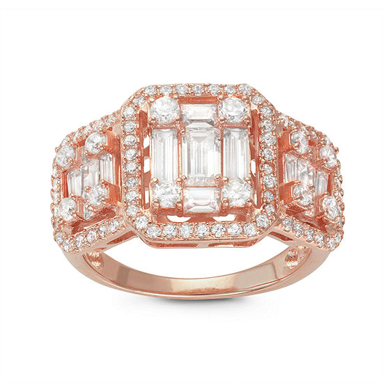 Womens 1 1/3 CT. T.W. White Cubic Zirconia 14K Rose Gold Over Silver Cocktail Ring