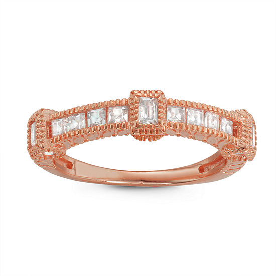 Womens 1/2 CT. T.W. White Cubic Zirconia 14K Rose Gold Over Silver Cocktail Ring