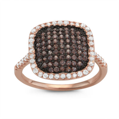 Womens 1 CT. T.W. Brown Cubic Zirconia 14K Rose Gold Over Silver Delicate Ring