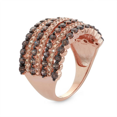 Womens 2 1/2 CT. T.W. Brown Cubic Zirconia 14K Rose Gold Over Silver Band