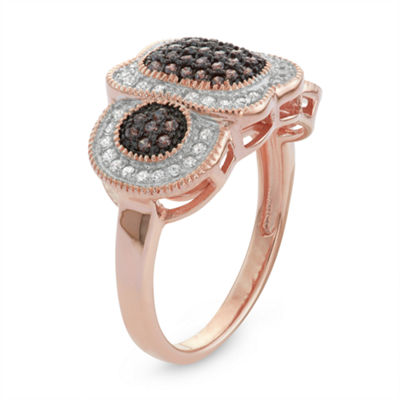 Womens 1/4 CT. T.W. Brown Cubic Zirconia 14K Rose Gold Over Silver Delicate Ring