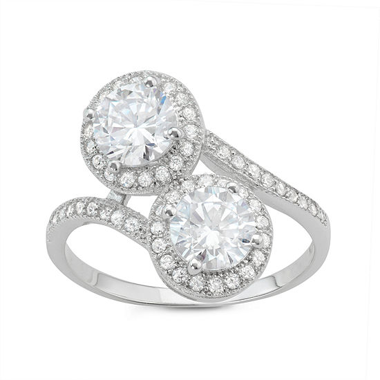 Womens 2 CT. T.W. White Cubic Zirconia Sterling Silver Crossover Cocktail Ring