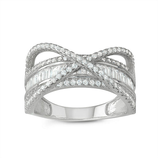 Womens 1 1/3 CT. T.W. White Cubic Zirconia Sterling Silver Crossover Cocktail Ring