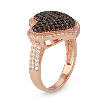 Womens 7/8 CT. T.W. Brown Cubic Zirconia 14K Rose Gold Over Silver Heart Delicate Ring