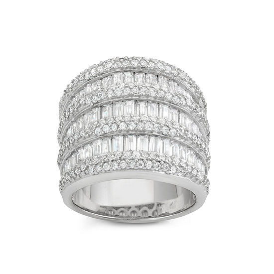 Womens 3 1/2 CT. T.W. White Cubic Zirconia Sterling Silver Cocktail Ring