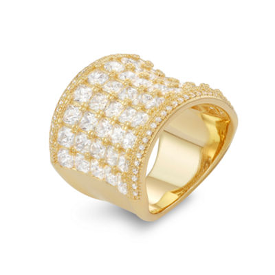 Womens White Cubic Zirconia 14K Gold Over Silver Band