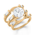 Womens White Cubic Zirconia 14K Gold Over Silver Stackable Ring
