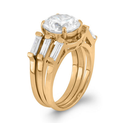 Womens White Cubic Zirconia 14K Rose Gold Over Silver Stackable Ring