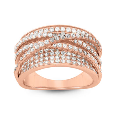 Womens White Cubic Zirconia 14K Rose Gold Over Silver Cocktail Ring