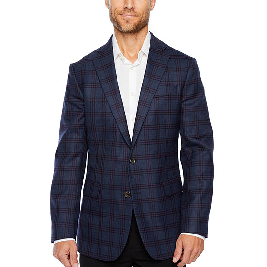 Stafford Merino Wool Stretch Blue Plum Checked Classic Fit Sport Coat