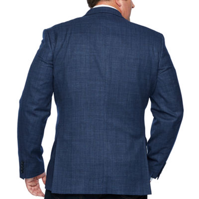 Claiborne Navy Checked Sport Coat - Big and Tall