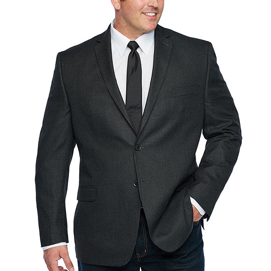 Collection by Michael Strahan Gray Houndstooth Classic Fit Sport Coat - Big and Tall
