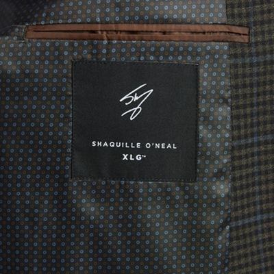 Shaquille O'Neal XLG Brown Windowpane Sport Coat - Big and Tall
