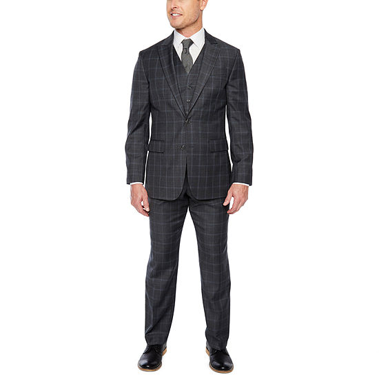 Stafford Travel Gray Blue Check Classic Fit Suit Separates