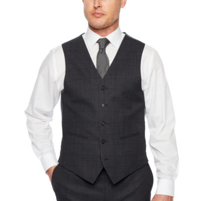 Claiborne Windowpane Classic Fit Stretch Suit Vest