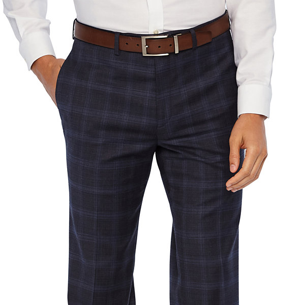 Collection by Michael Strahan  Blue Plaid Slim Fit Stretch Suit Pants
