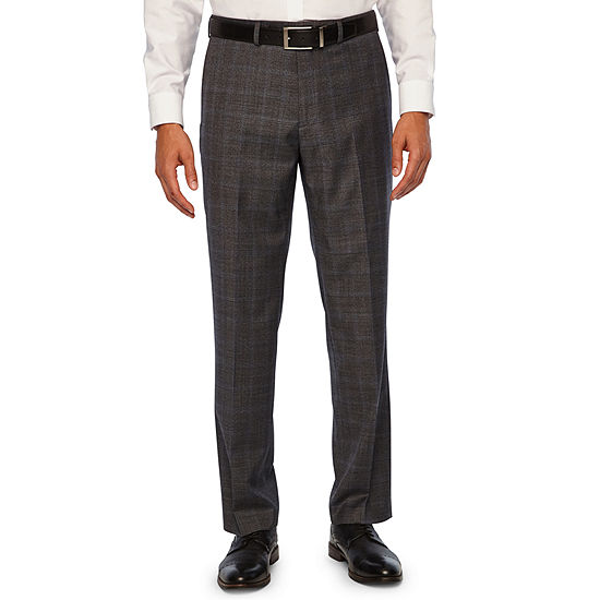 Collection by Michael Strahan  Gray Mens Checked Stretch Classic Fit Suit Pants