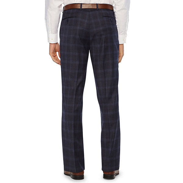 Collection by Michael Strahan  Blue Plaid Classic Fit Stretch Suit Pants