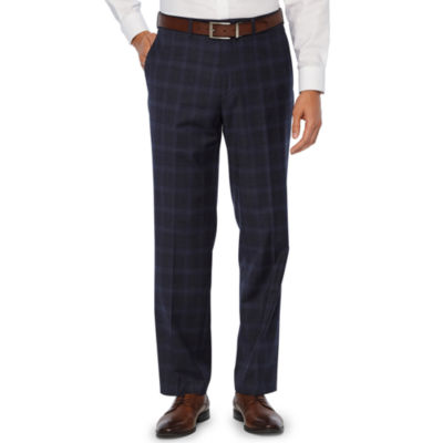 Collection by Michael Strahan  Blue Mens Plaid Stretch Classic Fit Suit Pants