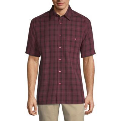 Haggar Mens Short Sleeve Plaid Button-Front Shirt