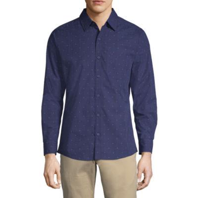 Haggar Mens Long Sleeve Dots Button-Front Shirt