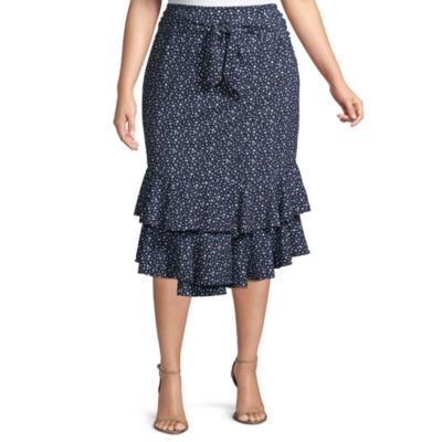 Worthington Tie Waist Ruffle Skirt – Plus