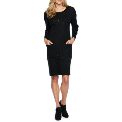 Vivi By Violet Weekend Sweater Dresses Long Sleeve Abstract Shift Dress