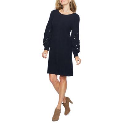 Vivi By Violet Weekend Long Sleeve Beaded Sheath Sweater Dress
