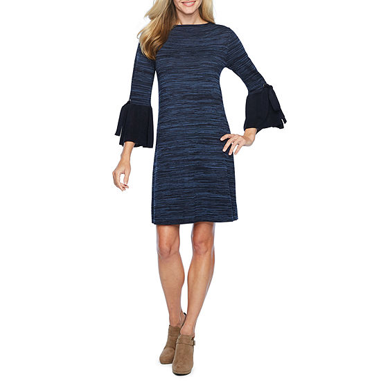 Vivi By Violet Weekend Sweater Dresses 3/4 Sleeve Abstract Sheath Dress