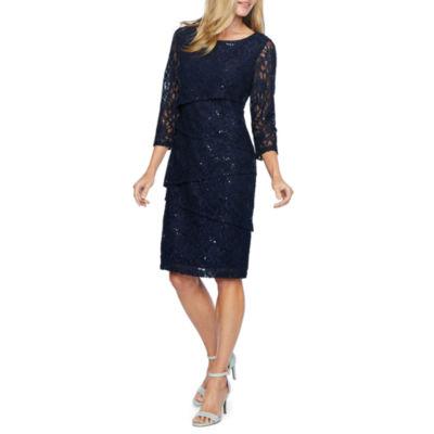 Ronni Nicole 3/4 Sleeve Pattern Sheath Dress