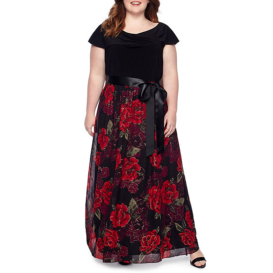 Scarlett Short Sleeve Knit Top Gown with Sash - Plus