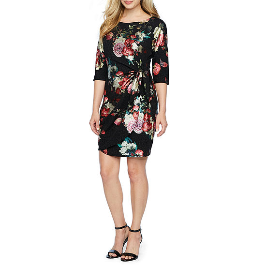 Robbie Bee 3/4 Sleeve Floral Sheath Dress-Petite