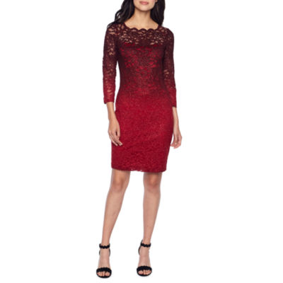 Onyx Nites 3/4 Sleeve Sheath Dress