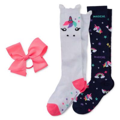 2pr Unicorn Knee High Sock and Bow Set