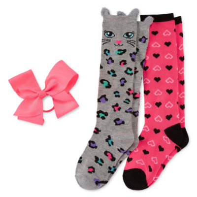 2pr Leopard Knee High Sock and Bow Set