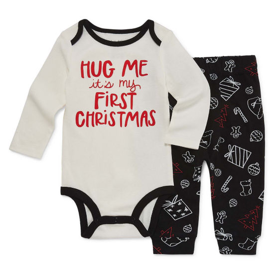 "Okie Dokie ""My First Christmas"" 2 Piece Bodysuit and Pant Set - Baby NB-24M"